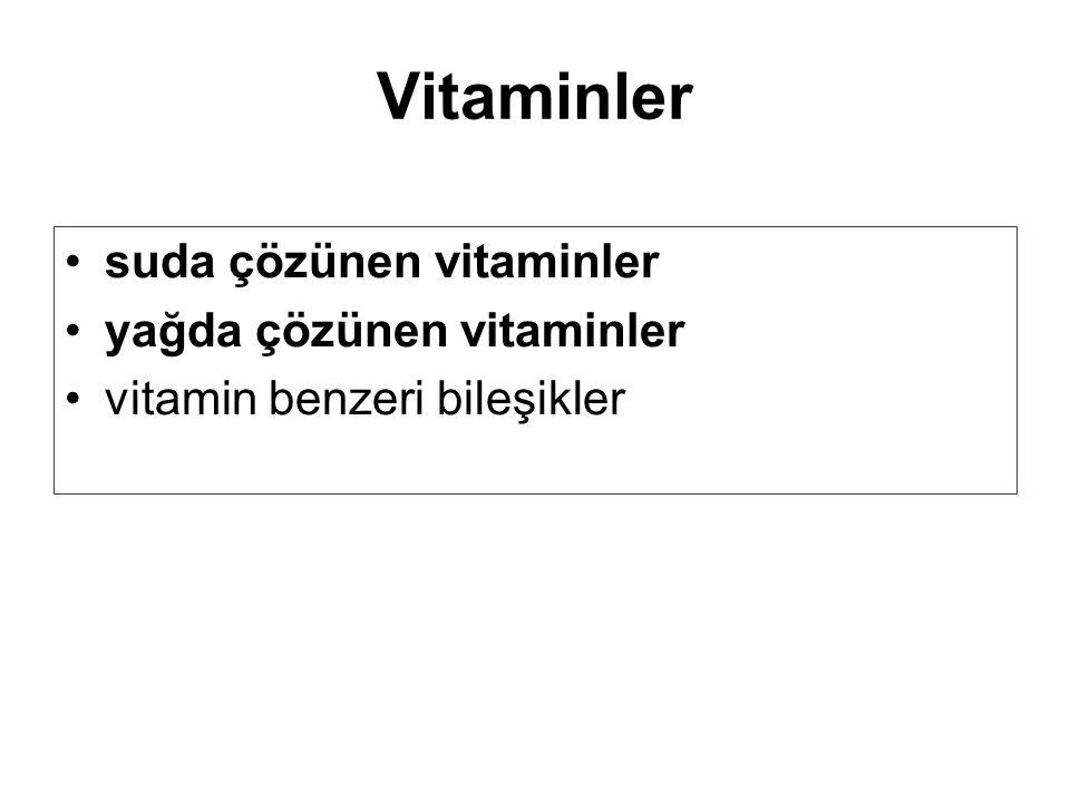 Vitaminler suda çözünen vitaminler yağda çözünen vitaminler