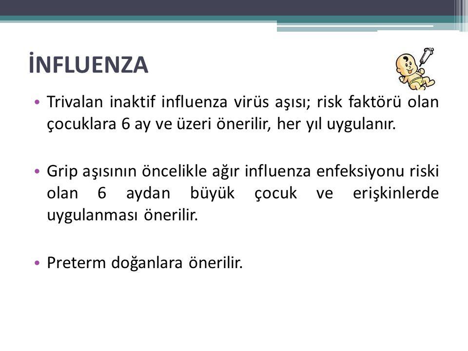 İNFLUENZA Trivalan inaktif influenza virüs aşısı; risk faktörü olan çocuklara 6 ay ve üzeri önerilir, her yıl uygulanır.