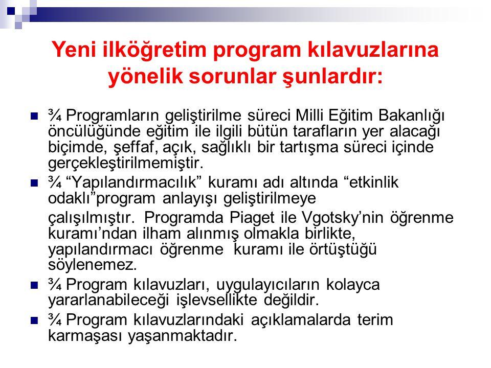 Yeni ilköğretim program kılavuzlarına yönelik sorunlar şunlardır: