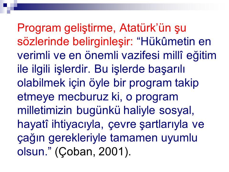 Program geliştirme, Atatürk'ün şu sözlerinde belirginleşir: Hükûmetin en verimli ve en önemli vazifesi millî eğitim ile ilgili işlerdir.