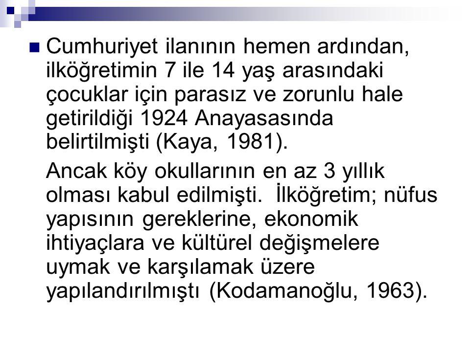 Cumhuriyet ilanının hemen ardından, ilköğretimin 7 ile 14 yaş arasındaki çocuklar için parasız ve zorunlu hale getirildiği 1924 Anayasasında belirtilmişti (Kaya, 1981).