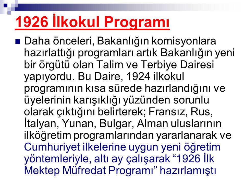 1926 İlkokul Programı