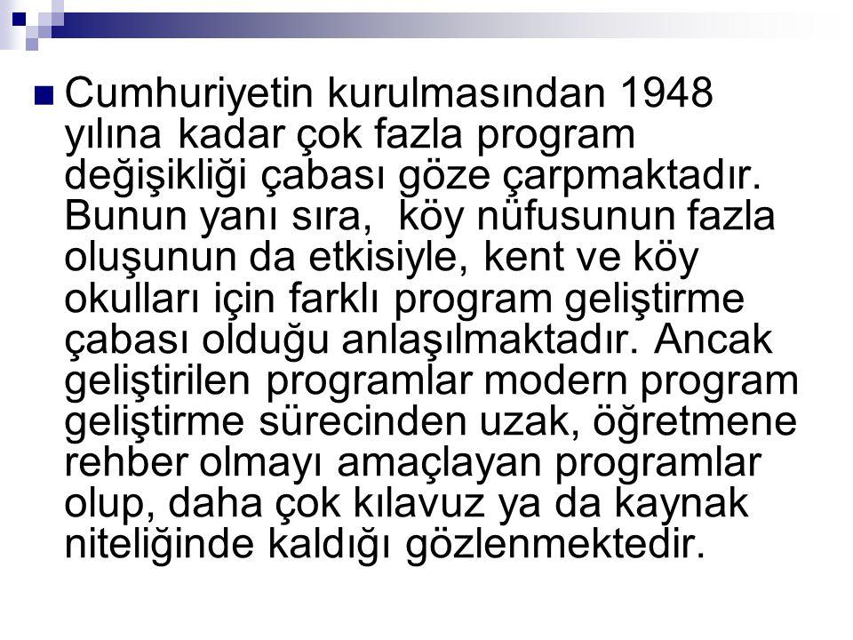 Cumhuriyetin kurulmasından 1948 yılına kadar çok fazla program değişikliği çabası göze çarpmaktadır.