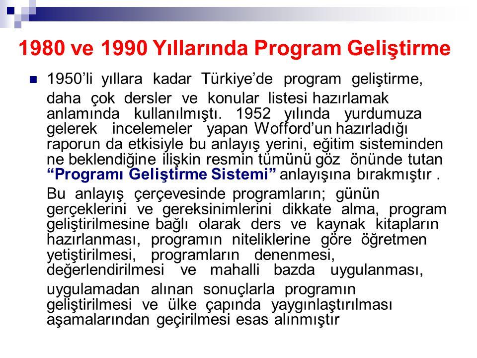 1980 ve 1990 Yıllarında Program Geliştirme