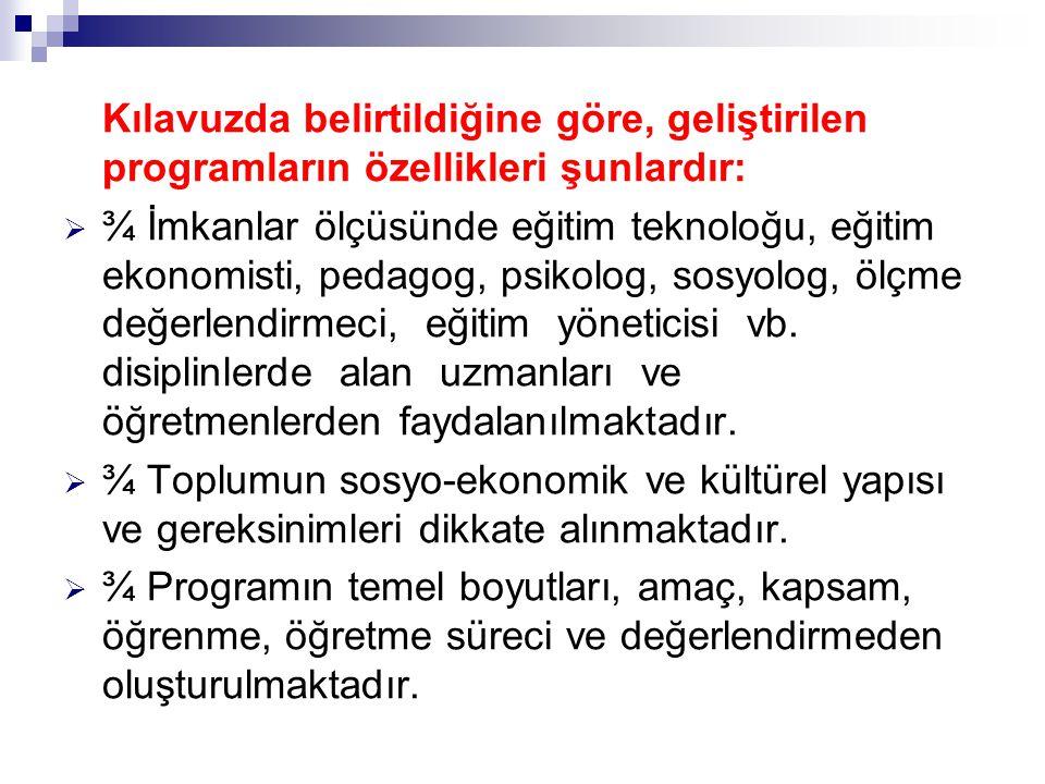 Kılavuzda belirtildiğine göre, geliştirilen programların özellikleri şunlardır: