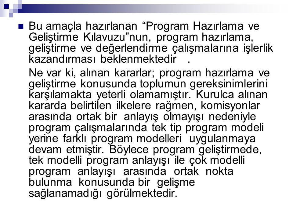 Bu amaçla hazırlanan Program Hazırlama ve Geliştirme Kılavuzu nun, program hazırlama, geliştirme ve değerlendirme çalışmalarına işlerlik kazandırması beklenmektedir .