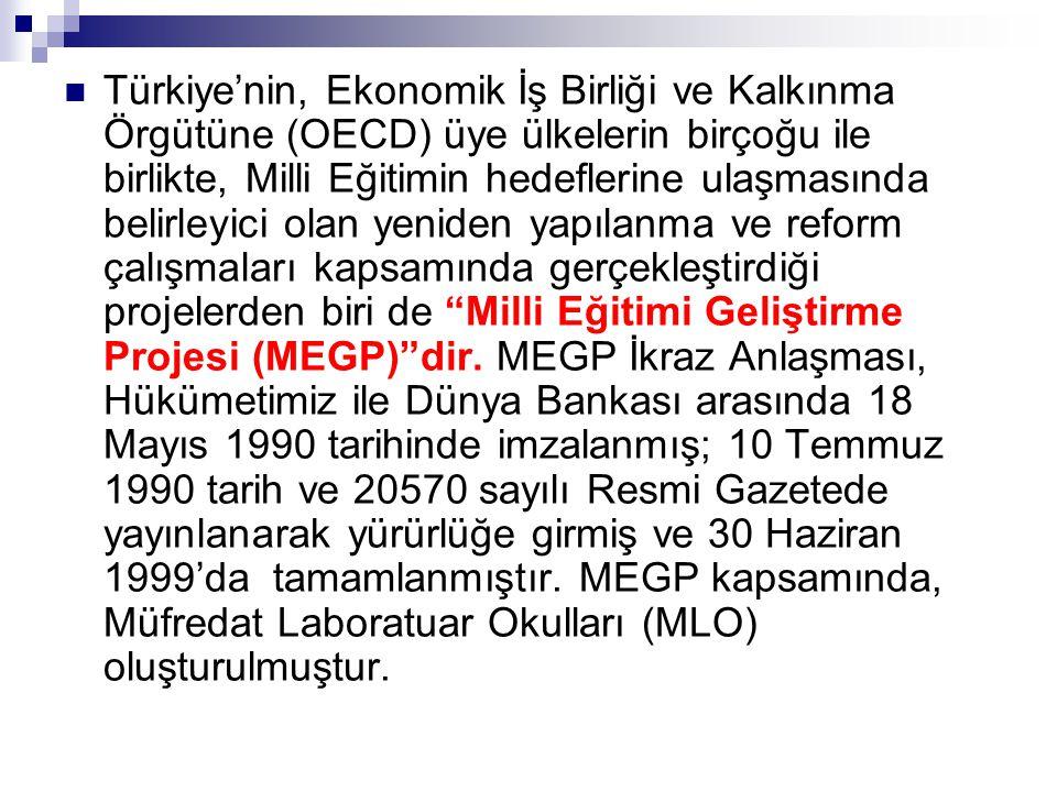Türkiye'nin, Ekonomik İş Birliği ve Kalkınma Örgütüne (OECD) üye ülkelerin birçoğu ile birlikte, Milli Eğitimin hedeflerine ulaşmasında belirleyici olan yeniden yapılanma ve reform çalışmaları kapsamında gerçekleştirdiği projelerden biri de Milli Eğitimi Geliştirme Projesi (MEGP) dir.