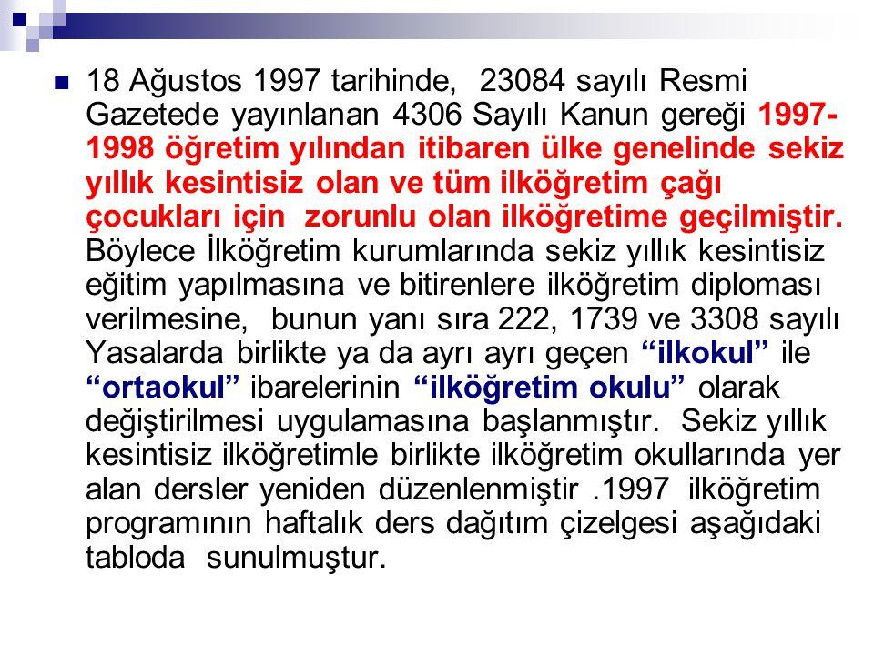 18 Ağustos 1997 tarihinde, 23084 sayılı Resmi Gazetede yayınlanan 4306 Sayılı Kanun gereği 1997-1998 öğretim yılından itibaren ülke genelinde sekiz yıllık kesintisiz olan ve tüm ilköğretim çağı çocukları için zorunlu olan ilköğretime geçilmiştir.