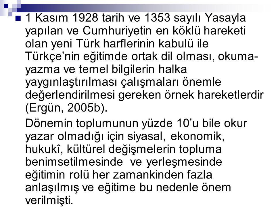 1 Kasım 1928 tarih ve 1353 sayılı Yasayla yapılan ve Cumhuriyetin en köklü hareketi olan yeni Türk harflerinin kabulü ile Türkçe'nin eğitimde ortak dil olması, okuma-yazma ve temel bilgilerin halka yaygınlaştırılması çalışmaları önemle değerlendirilmesi gereken örnek hareketlerdir (Ergün, 2005b).