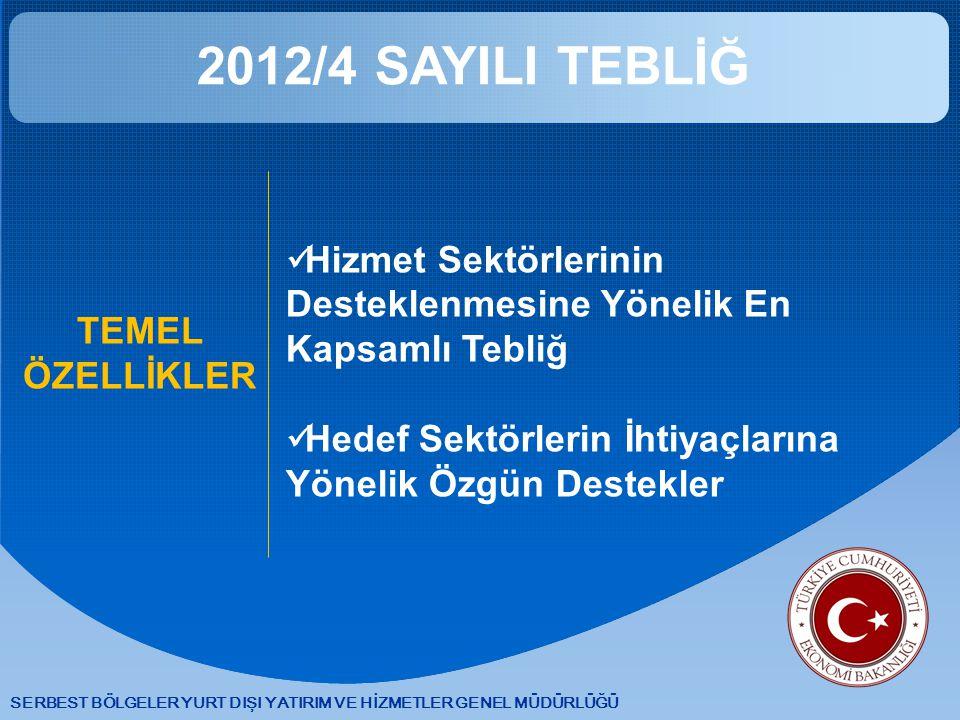 2012/4 SAYILI TEBLİĞ Hizmet Sektörlerinin Desteklenmesine Yönelik En Kapsamlı Tebliğ. Hedef Sektörlerin İhtiyaçlarına Yönelik Özgün Destekler.