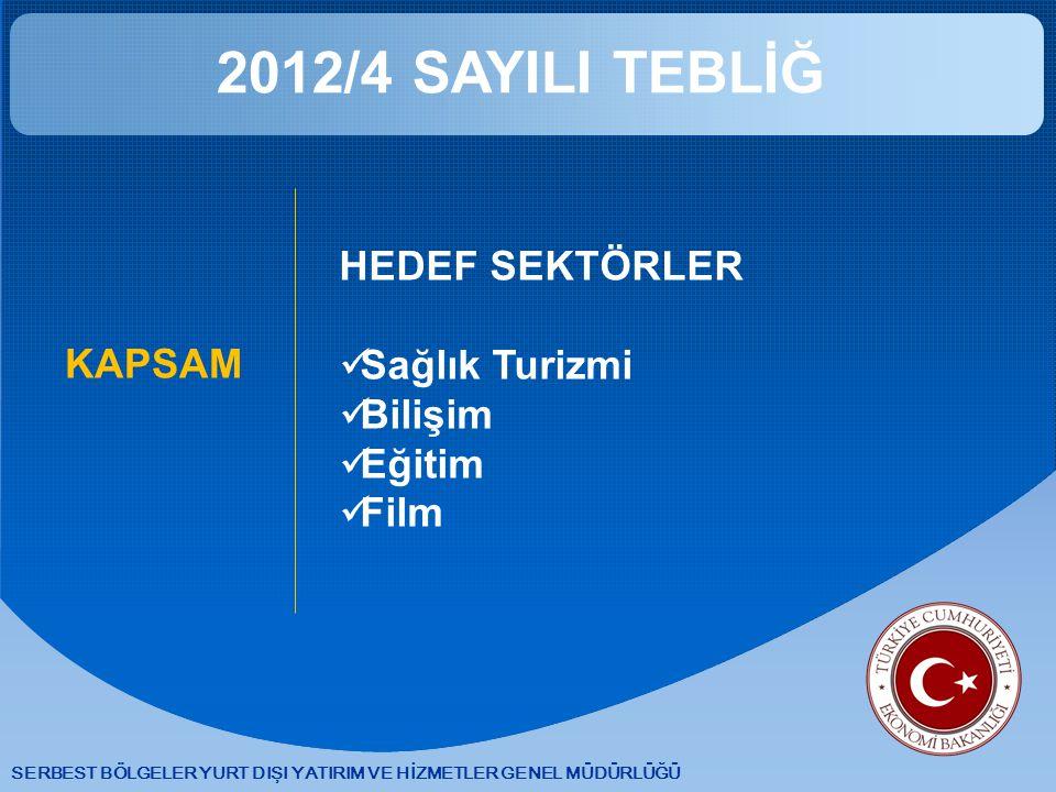 2012/4 SAYILI TEBLİĞ HEDEF SEKTÖRLER Sağlık Turizmi Bilişim KAPSAM