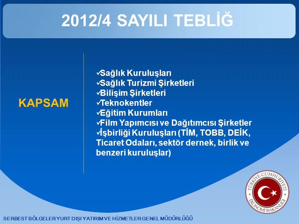2012/4 SAYILI TEBLİĞ KAPSAM Sağlık Kuruluşları