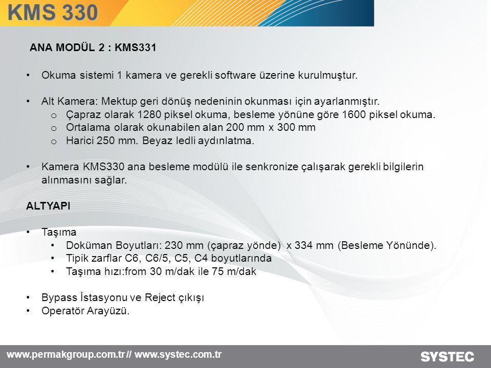 KMS 330 ANA MODÜL 2 : KMS331. Okuma sistemi 1 kamera ve gerekli software üzerine kurulmuştur.