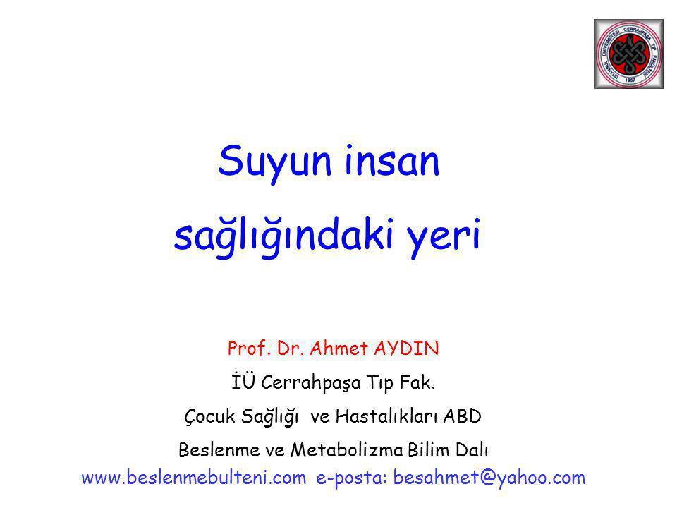 Suyun insan sağlığındaki yeri Prof. Dr. Ahmet AYDIN