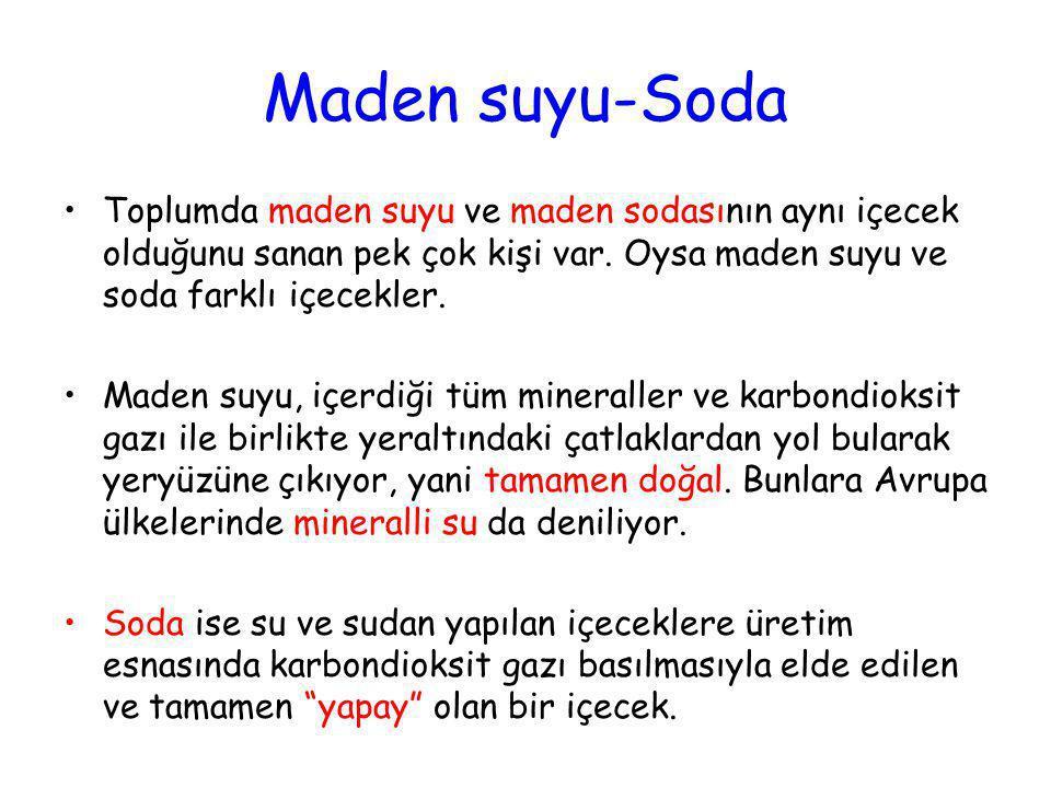 Maden suyu-Soda Toplumda maden suyu ve maden sodasının aynı içecek olduğunu sanan pek çok kişi var. Oysa maden suyu ve soda farklı içecekler.