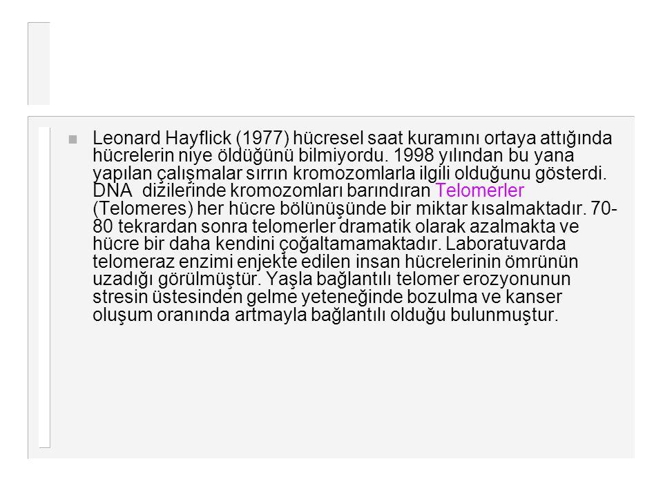 Leonard Hayflick (1977) hücresel saat kuramını ortaya attığında hücrelerin niye öldüğünü bilmiyordu.