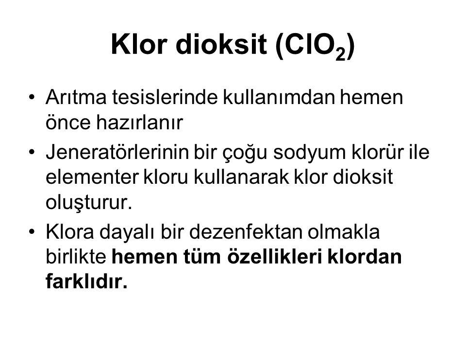 Klor dioksit (ClO2) Arıtma tesislerinde kullanımdan hemen önce hazırlanır.