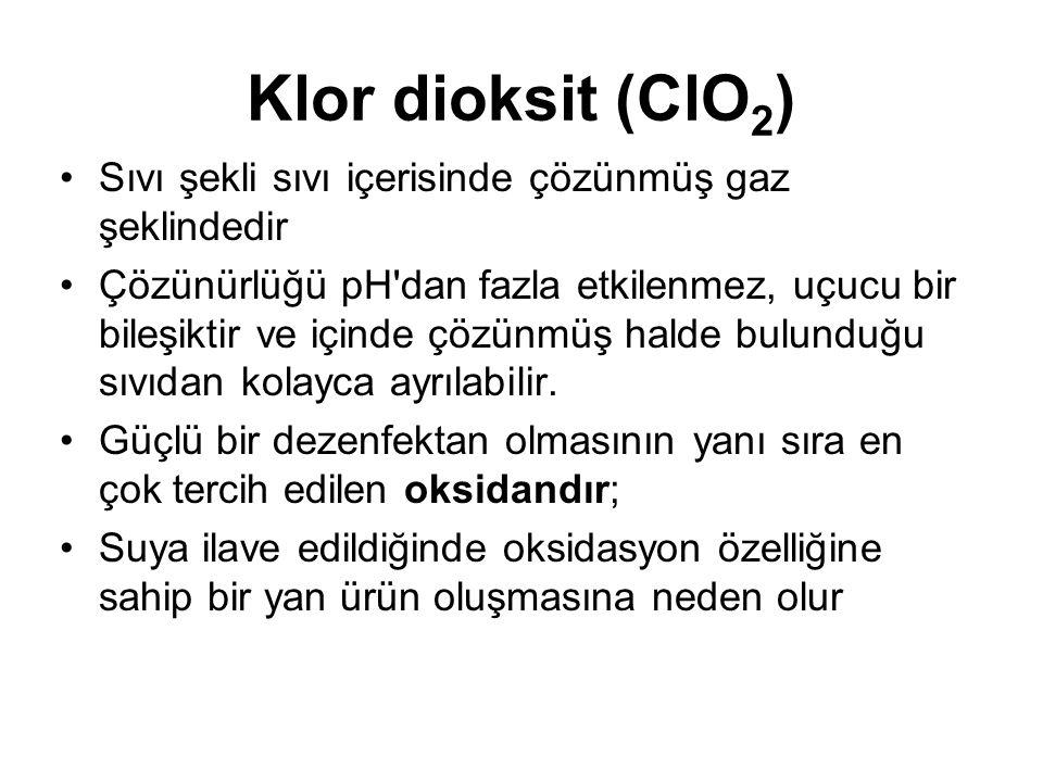 Klor dioksit (ClO2) Sıvı şekli sıvı içerisinde çözünmüş gaz şeklindedir.