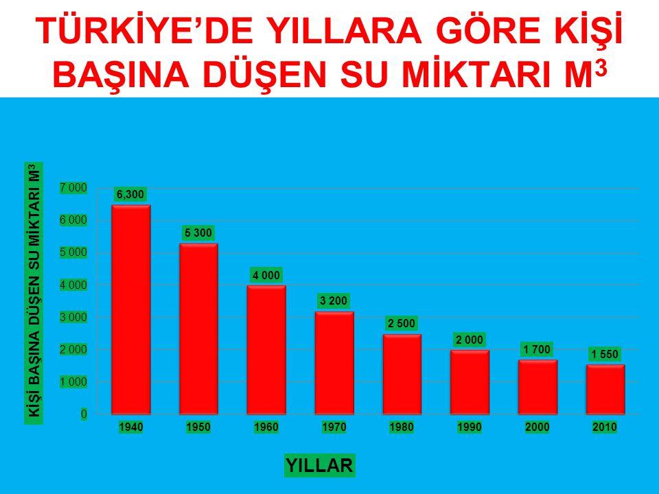 TÜRKİYE'DE YILLARA GÖRE KİŞİ BAŞINA DÜŞEN SU MİKTARI M3