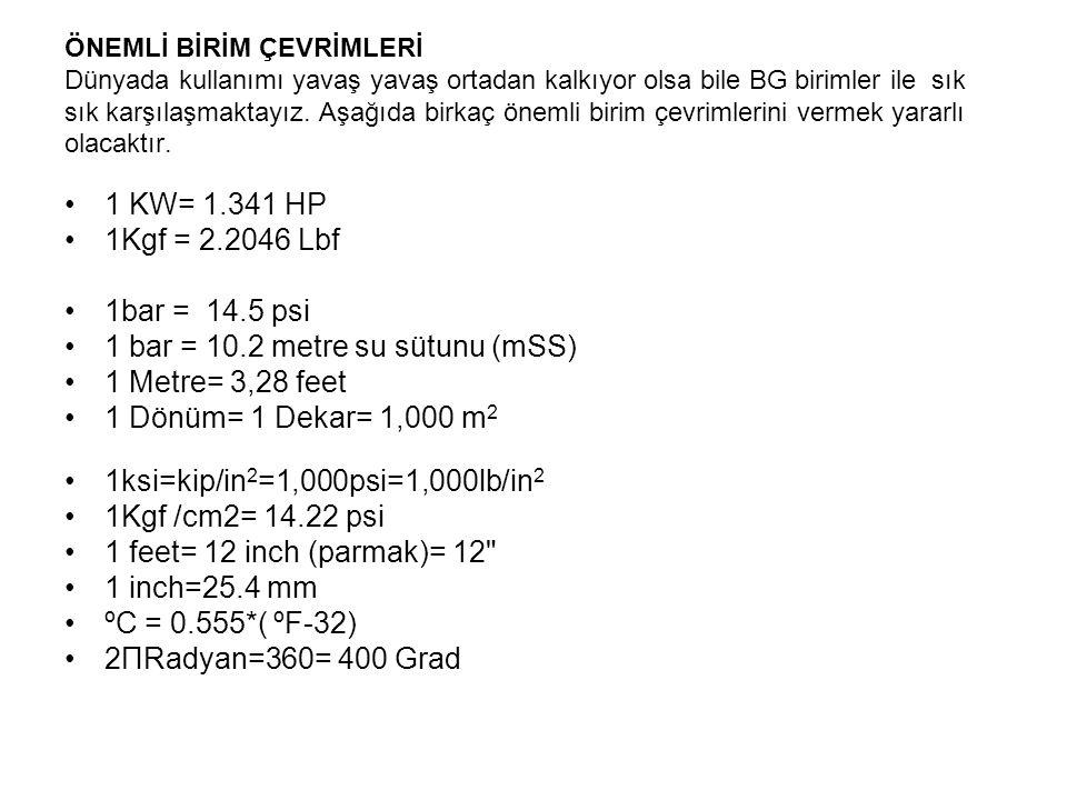 1 bar = 10.2 metre su sütunu (mSS) 1 Metre= 3,28 feet