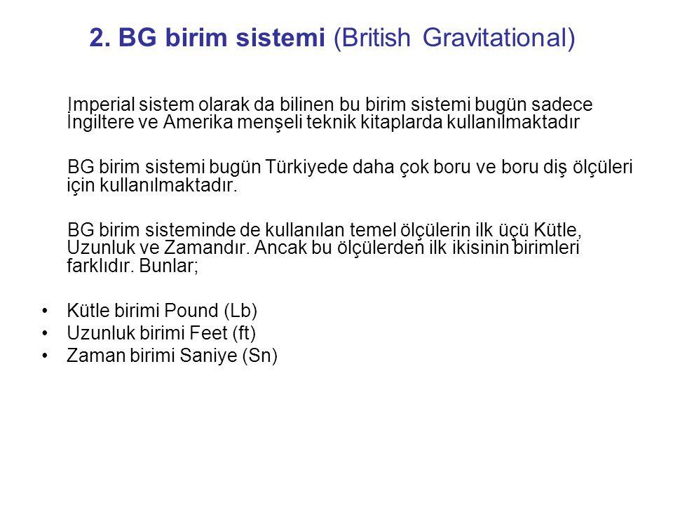 2. BG birim sistemi (British Gravitational)