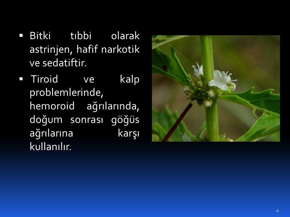 Bitki tıbbi olarak astrinjen, hafif narkotik ve sedatiftir.