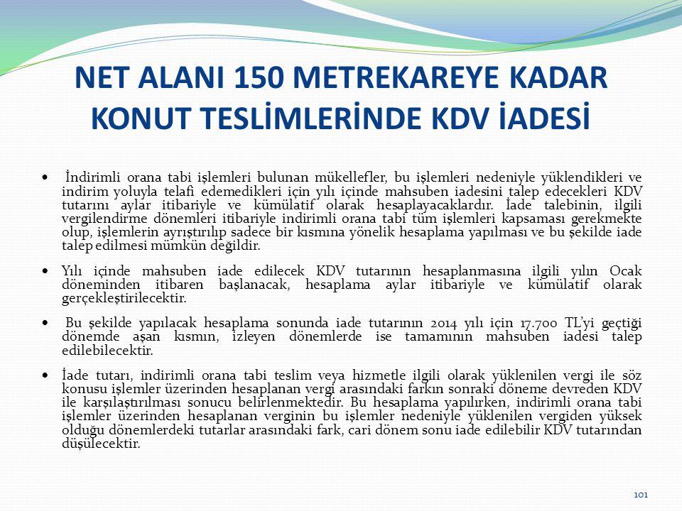 NET ALANI 150 METREKAREYE KADAR KONUT TESLİMLERİNDE KDV İADESİ