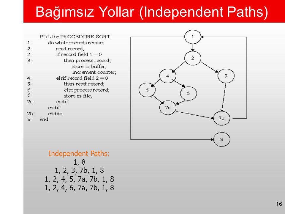 Bağımsız Yollar (Independent Paths)