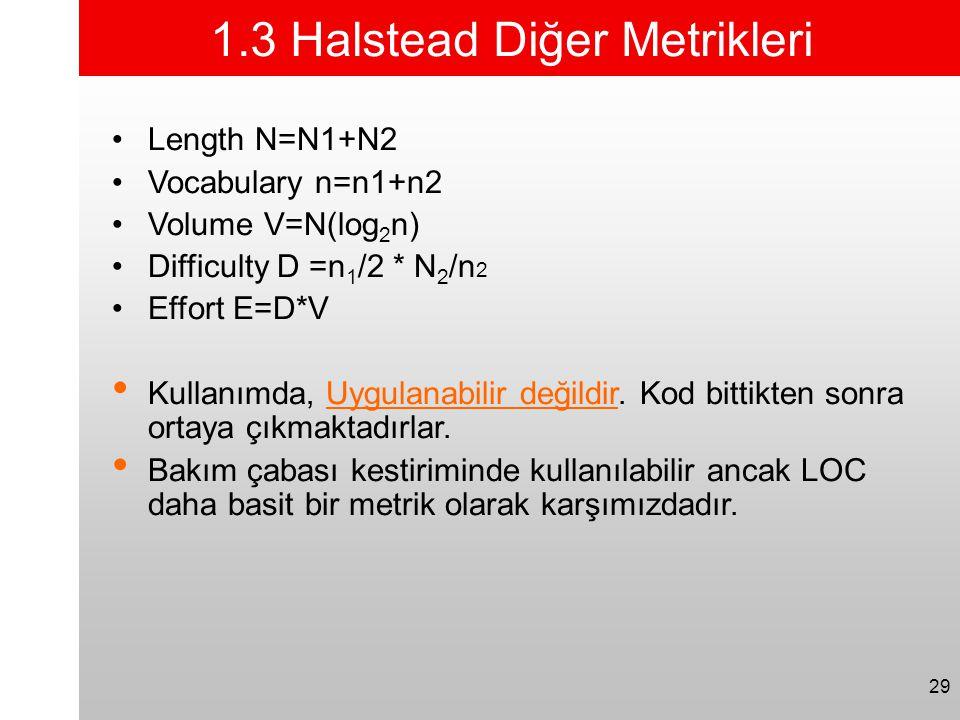 1.3 Halstead Diğer Metrikleri
