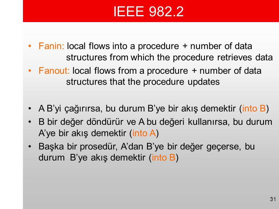 IEEE 982.2 Fanin: local flows into a procedure + number of data structures from which the procedure retrieves data.