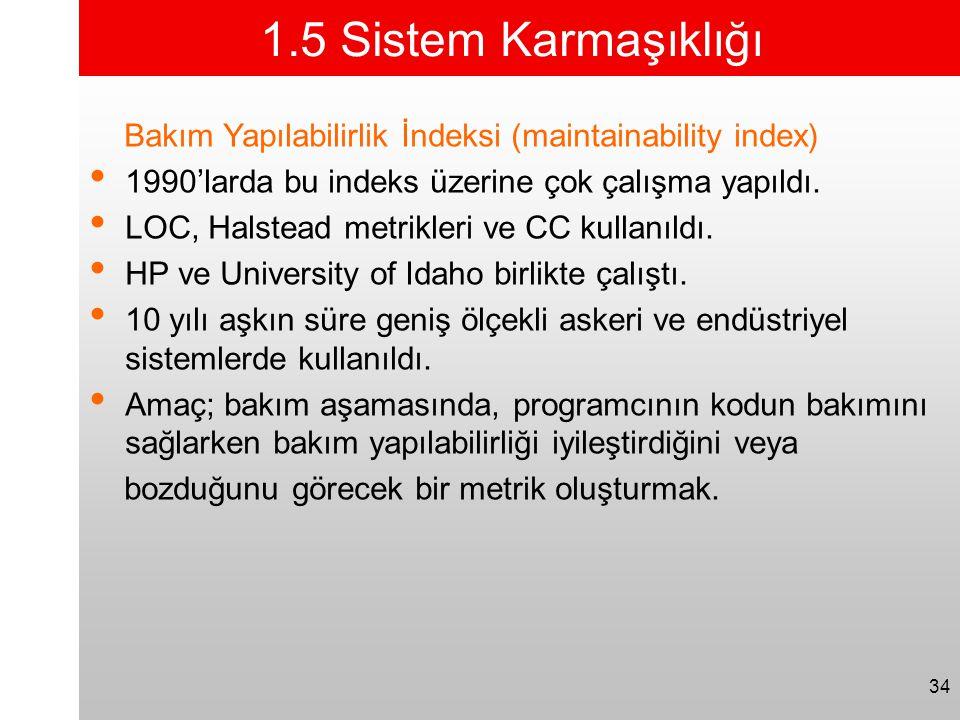 1.5 Sistem Karmaşıklığı Bakım Yapılabilirlik İndeksi (maintainability index) 1990'larda bu indeks üzerine çok çalışma yapıldı.