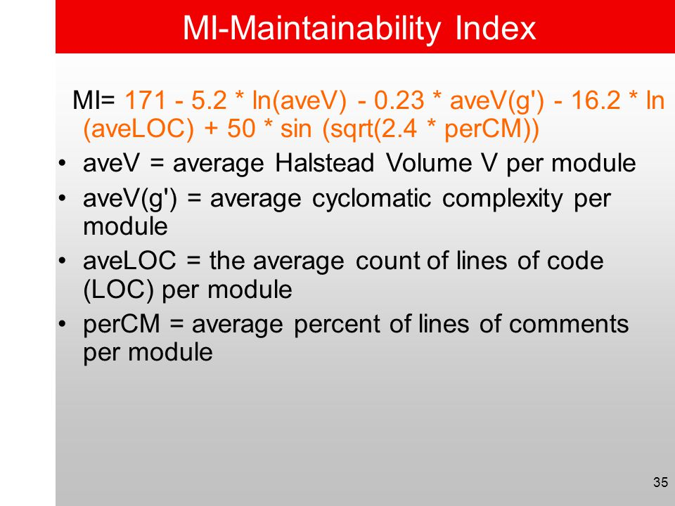 MI-Maintainability Index