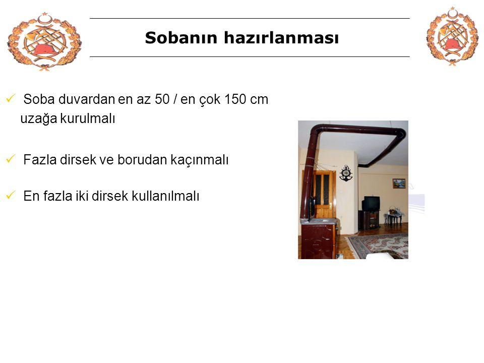 Sobanın hazırlanması Soba duvardan en az 50 / en çok 150 cm
