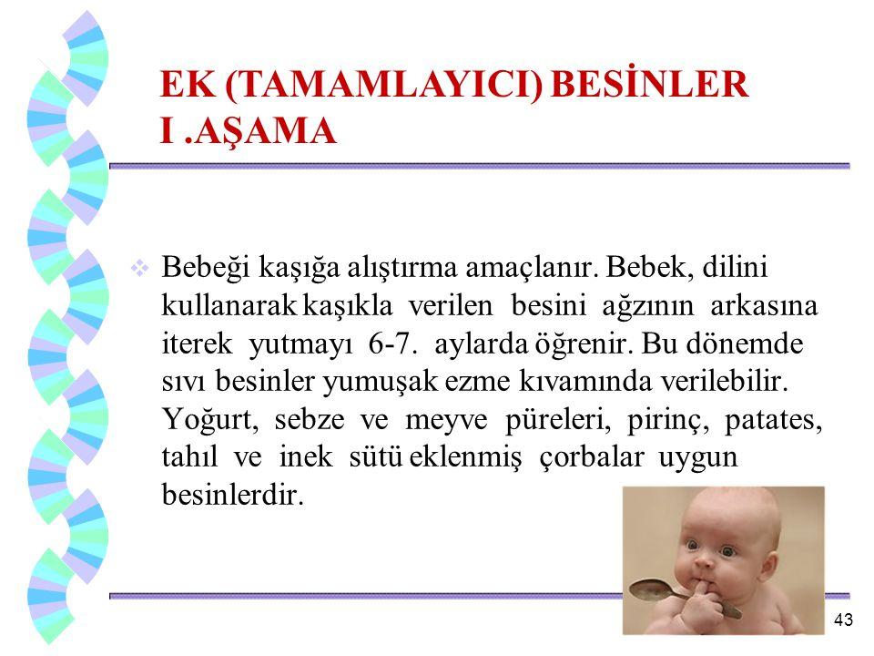 EK (TAMAMLAYICI) BESİNLER I .AŞAMA