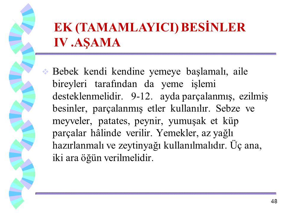 EK (TAMAMLAYICI) BESİNLER IV .AŞAMA
