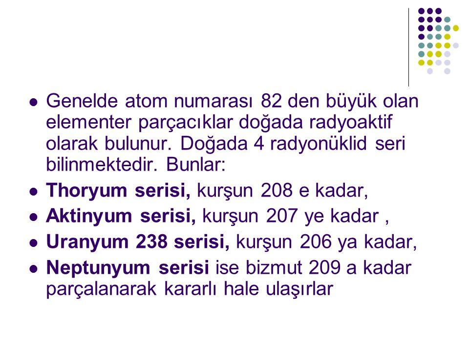 Genelde atom numarası 82 den büyük olan elementer parçacıklar doğada radyoaktif olarak bulunur. Doğada 4 radyonüklid seri bilinmektedir. Bunlar: