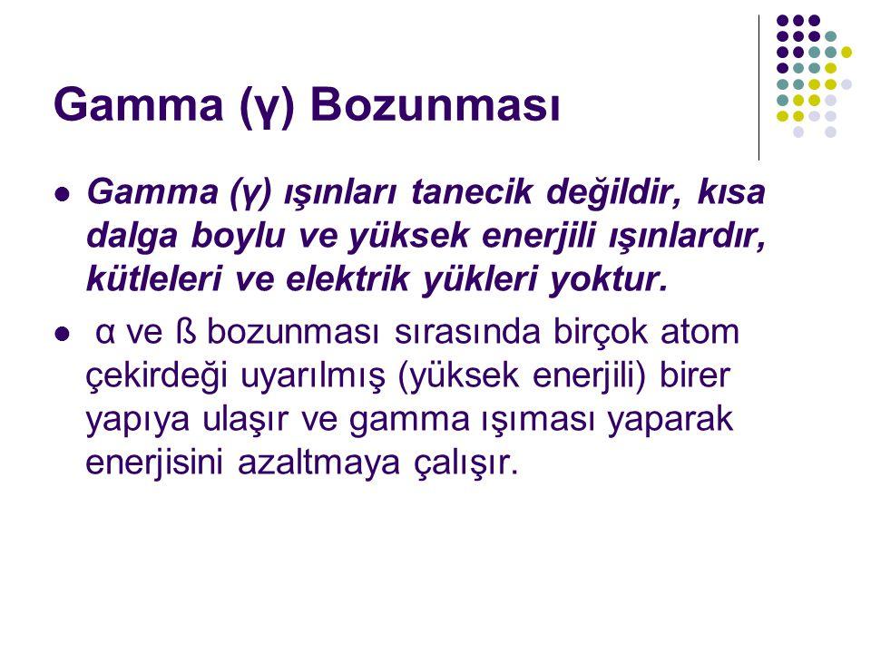 Gamma (γ) Bozunması Gamma (γ) ışınları tanecik değildir, kısa dalga boylu ve yüksek enerjili ışınlardır, kütleleri ve elektrik yükleri yoktur.