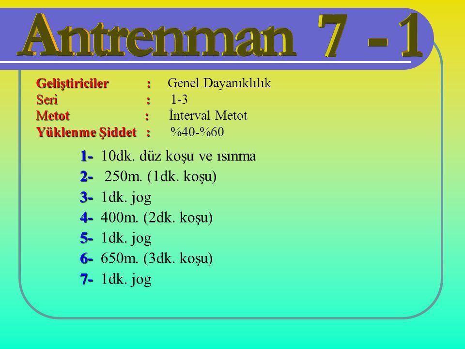 1- 10dk. düz koşu ve ısınma 2- 250m. (1dk. koşu) 3- 1dk. jog
