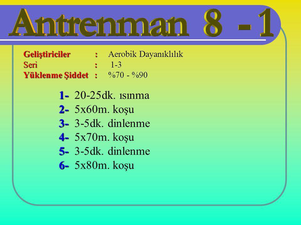 1- 20-25dk. ısınma 2- 5x60m. koşu 3- 3-5dk. dinlenme 4- 5x70m. koşu