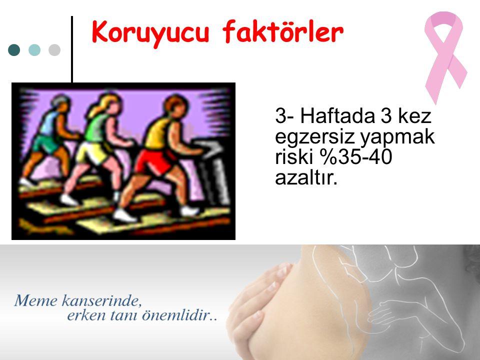 Koruyucu faktörler 3- Haftada 3 kez egzersiz yapmak riski %35-40 azaltır.