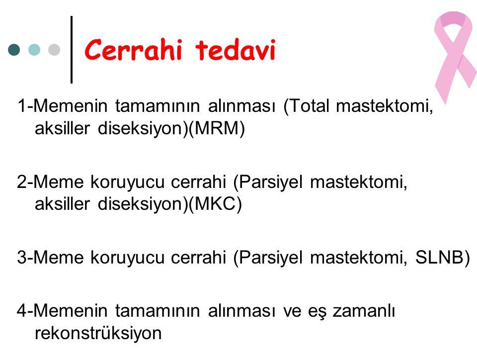 Cerrahi tedavi 1-Memenin tamamının alınması (Total mastektomi, aksiller diseksiyon)(MRM)