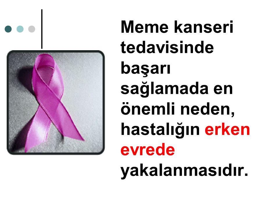 Meme kanseri tedavisinde başarı sağlamada en önemli neden, hastalığın erken evrede yakalanmasıdır.