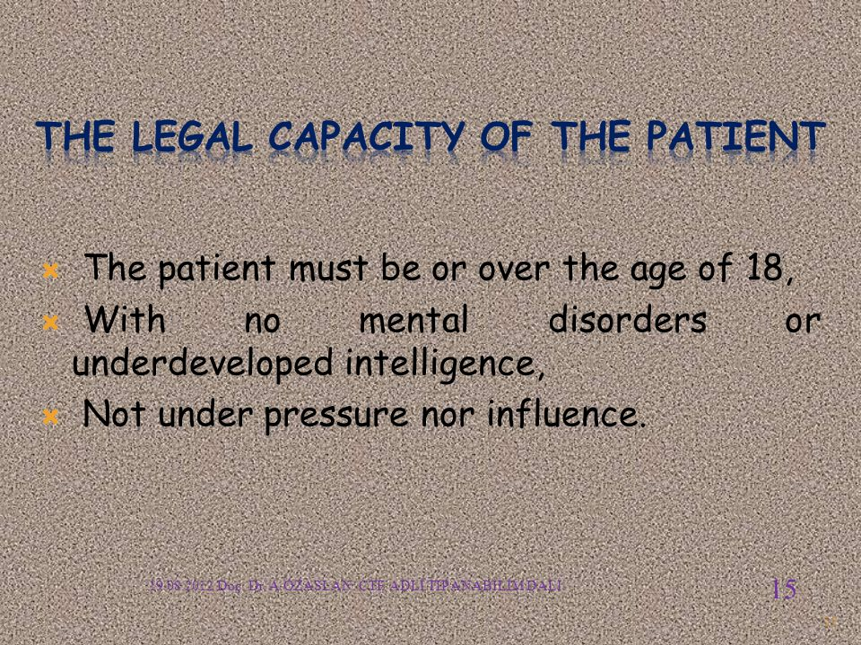 The legal capacity of the patient