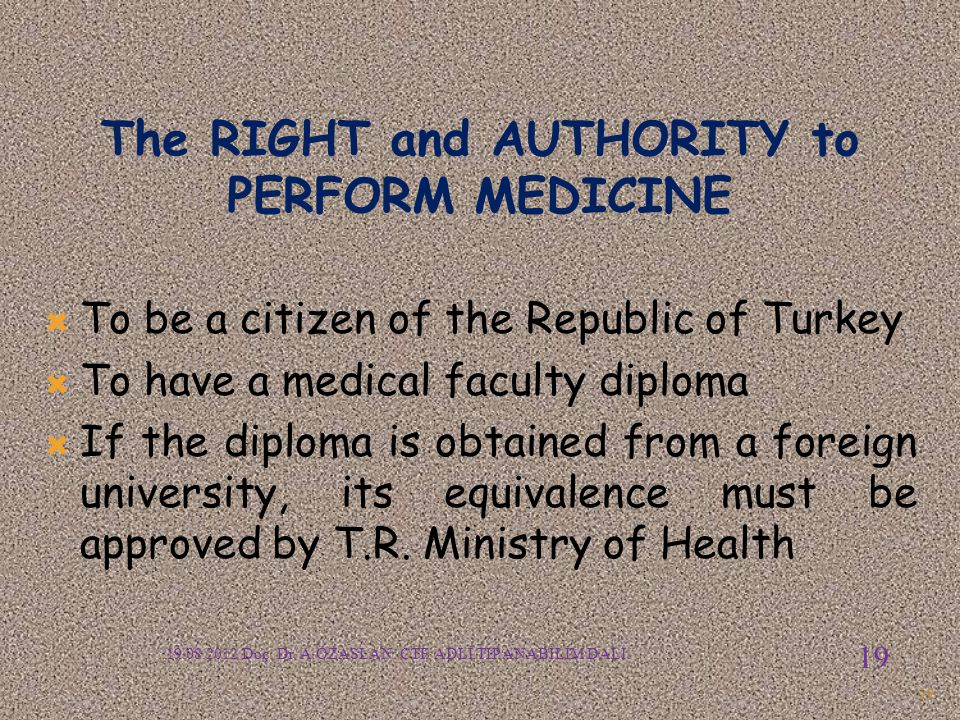 The RIGHT and AUTHORITY to PERFORM MEDICINE