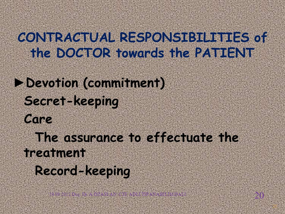 CONTRACTUAL RESPONSIBILITIES of the DOCTOR towards the PATIENT