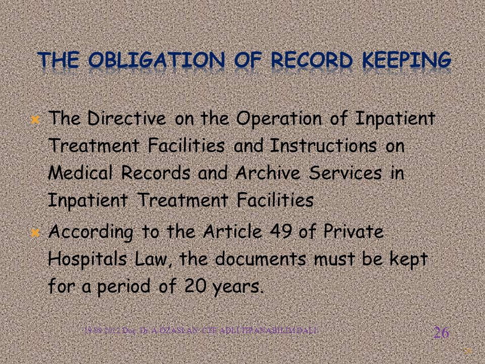 The OBLIGATION of RECORD KEEPING