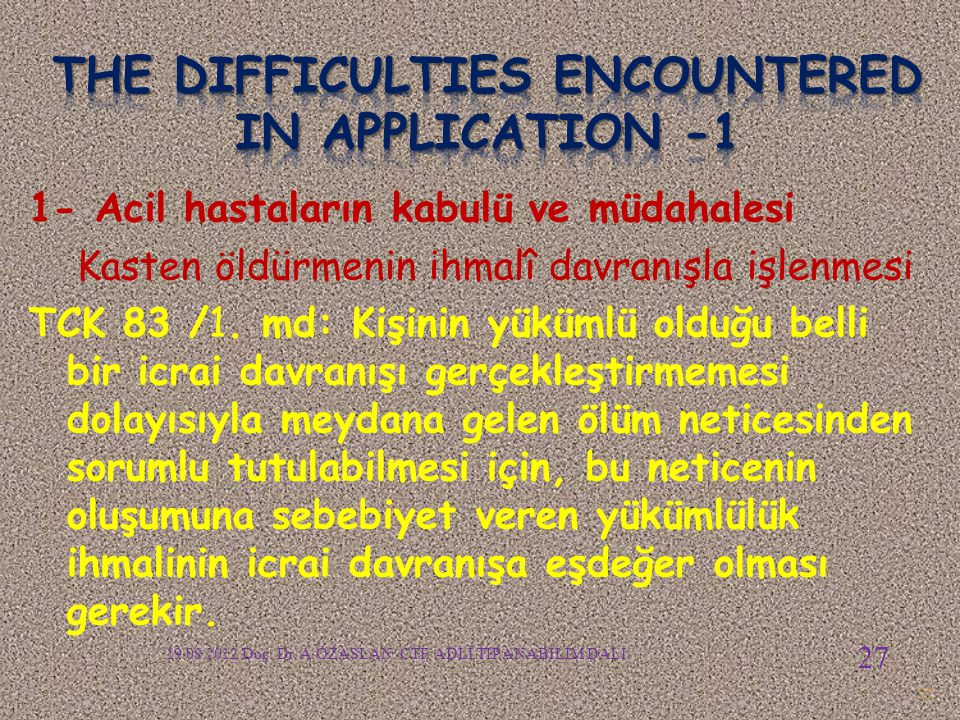 The difficulties encountered in APPLICATION -1