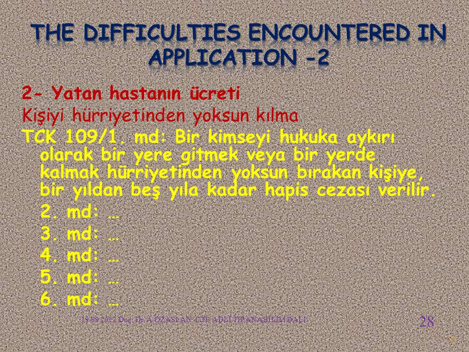 The difficulties encountered in APPLICATION -2