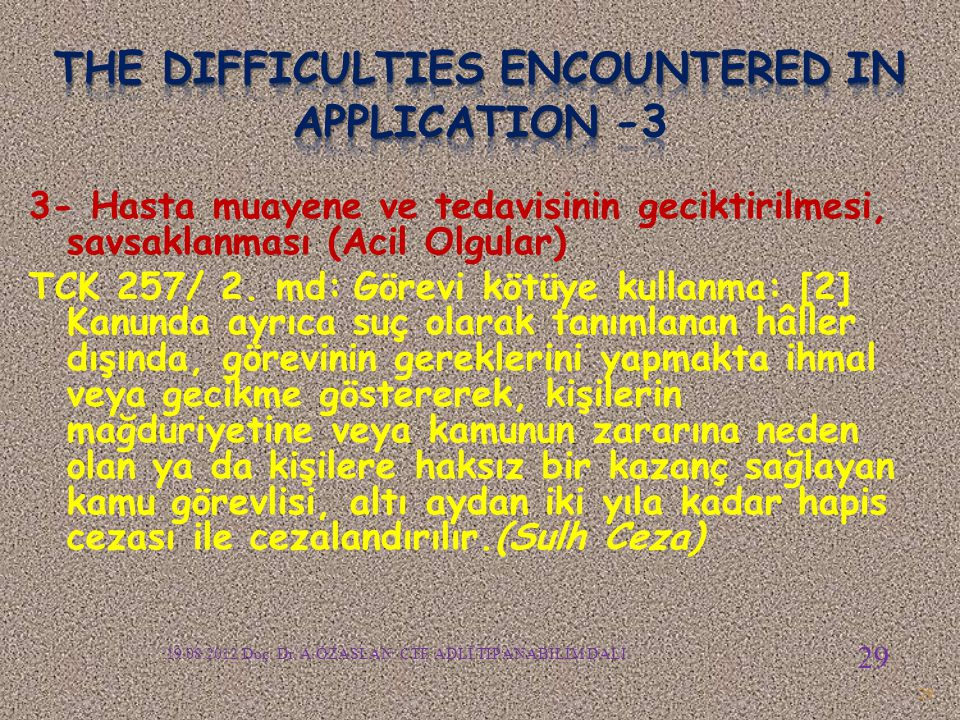 The difficulties encountered in APPLICATION -3