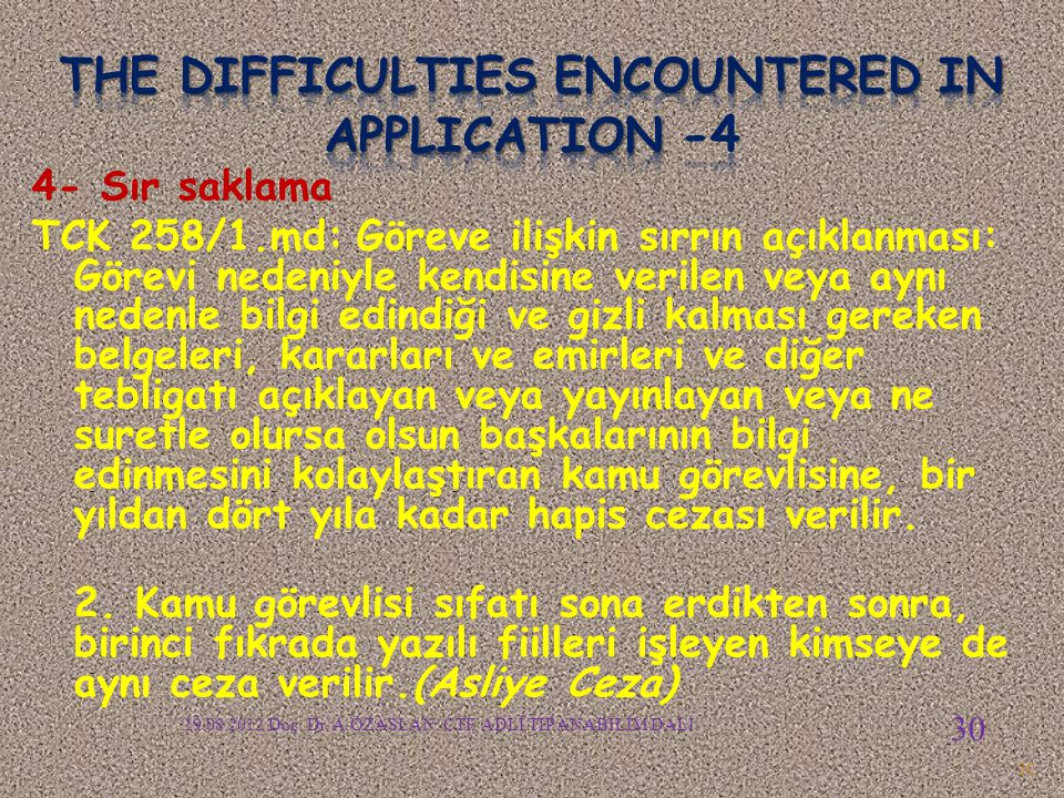 The difficulties encountered in APPLICATION -4